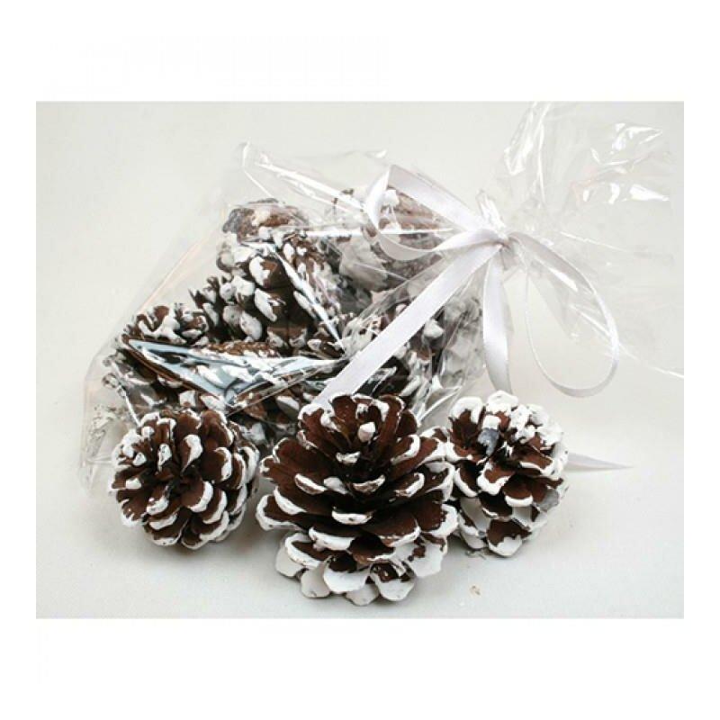 tannenzapfen mit schnee verziert 12 st ck dekoration basteln weihnachten 1 99. Black Bedroom Furniture Sets. Home Design Ideas