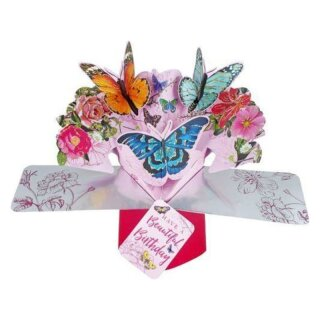Pop Up Karte 3D Beautiful Birthday Butterfly Happy Birthday Glückwunsch