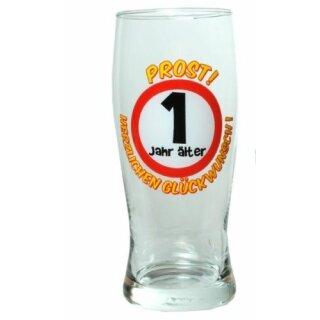 Bier Glas Prost 1 Jahr Alter Herzlichen Gluckwunsch Geburtstag