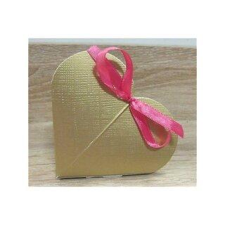 10x Gastgeschenk Herz Creme Tischkarten Goldene Hochzeit Geschenkbox