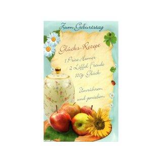 Glückwunschkarte Mit Spruch Geburtstag Glücks Rezept Mit Umschlag 1